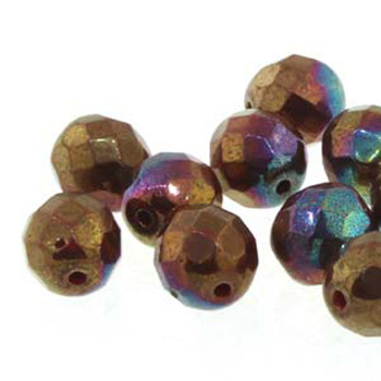 38 FirePolish 4mm38 FirePolish Coral Red Iris Lustr Czech Glass Beads Fire Polished