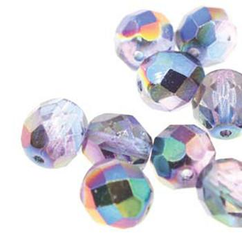 38 FirePolish 4mm Magic Blue /Pink Czech Glass Beads Fire Polished