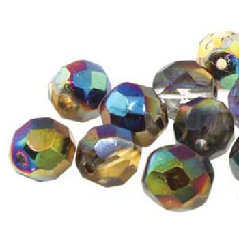 38 FirePolish 4mm Magic Orng /Grey Czech Glass Beads Fire Polished