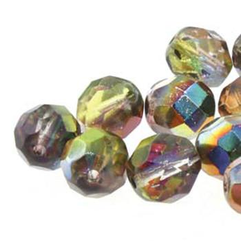 38 FirePolish 4mm Magic Ylw- Brown Czech Glass Beads Fire Polished