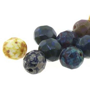 38 FirePolish 4mm Opq Mix Travertine Czech Glass Beads Fire Polished