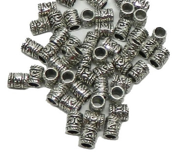 50 Tube Beads 8x10mm With 5mm Hole For European Style Charm Bracelets Rb00790