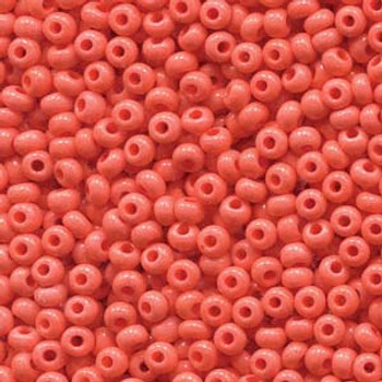 22 Grams Czech Sol Gel Seed Bead 8/0 Coral Opaque Approx 22 Grams