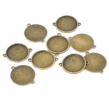 20 Connector Focal Links Round Antique Bronze Cabochon Setting 35x28mm Fit 25mm 20Pcs Rb22105
