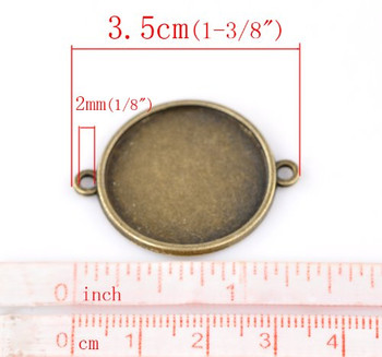 20 Connector Focal Links Round Antique Bronze Cabochon Setting 35x28mm (Fit 25mm),20pcs