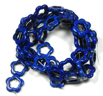 20mm Open Flower Beads Chalk Turquoise (Dyed / Stabilized) Lapis Blue 15 Inch B2-T364L