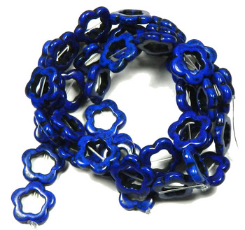 """20mm Open Flower Beads Chalk Turquoise (Dyed / Stabilized) Lapis Blue Gemstone Beads Approx 30"""" of Loose Strand Semi Precious Stone Beads 2"""