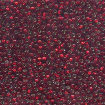 22 Grams Czech 8/0 Glass Seed Beads Lt Ruby Silver Lined Approx 22 Grams