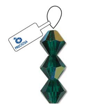 Crystal Bicone 4mm Emerald Ab 30 Beads Preciosa Czech Crystal