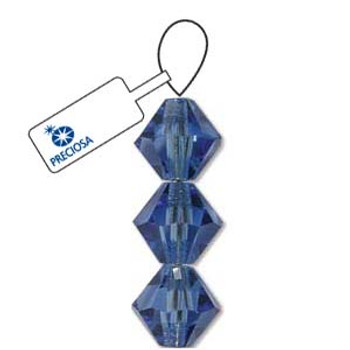Crystal Bicone 4mm Sapphire 30 Beads Preciosa Czech Crystal