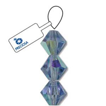 Crystal Bicone 4mm Lt Sapphire Ab 30 Beads Preciosa Czech Crystal