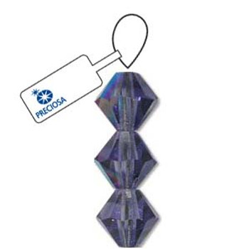 Crystal Bicone 4mm Tanzanite Ab 30 Beads Preciosa Czech Crystal