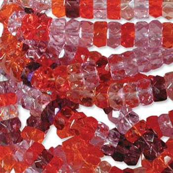 LIMITED Firepolish Rondelles 3x6mm MIX MELONBERRY  50 beads