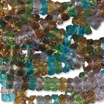 LIMITED Firepolish Rondelles 3x6mm PRAIRIE MIX.  50 beads