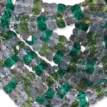 LIMITED Firepolish Rondelles 3x6mm LAVENDER GARDEN  50 beads