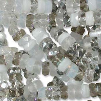 LIMITED Firepolish Rondelles 3x6mm mix12-  50 beads
