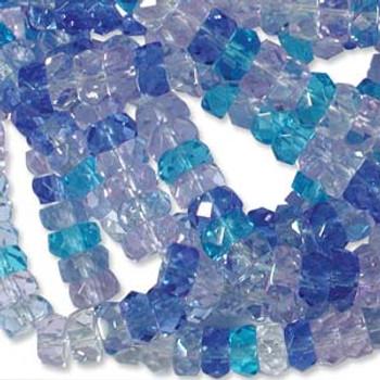 LIMITED Firepolish Rondelles 3x6mm mix11-  50 beads