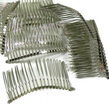 "48 Steel/Nickel Tone Metal Hair Comb Beading Hair Clips 3-1/8""x1-1/2"" Rb17122"