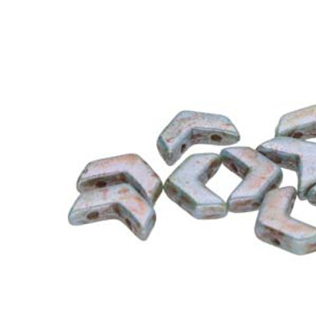 29 Cheveron Duo 10X4mm Chalk Lazure Bl 29 2 Hole Czech Glass Beads
