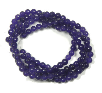 "6mm Amethyst Dyed Round Beads 30"" Stone"