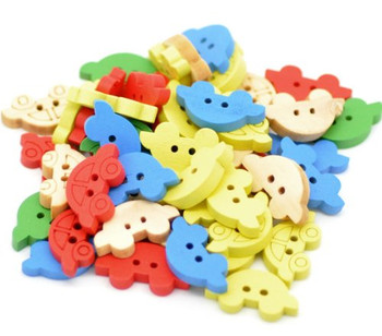 200 Wood Sewing Buttons Scrapbooking Cars 2 Holes Mixed Color 19x11mm 1.18 Inch Dia Rb16644