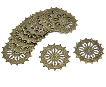 48 Antique Brass Filigree Flower Focal Components 43mm Jewelry Wrapping Findings Rb14167