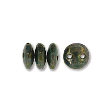 48 Lentil 2 Hole 6mm Turquoise Bronze Picasso Czech Glass Beads