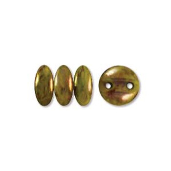 48 Lentil 2 Hole 6mm Chartruse Bronze Picasso Czech Glass Beads
