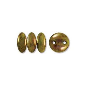 48 Lentil 2 Hole 6mm Chartruse Bronze Picasso Czech Glass Beads