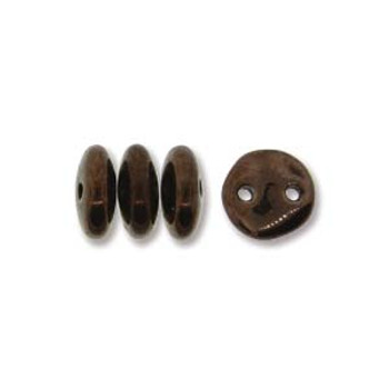 48 Lentil 2 Hole 6mm Dark Bronze Czech Glass Beads