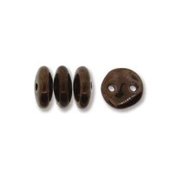 48 Lentil 2 Hole 6mm Dark Bronze Czech Glass Beads