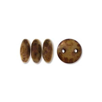 48 Lentil 2 Hole 6mm Beige Copper Picasso Czech Glass Beads