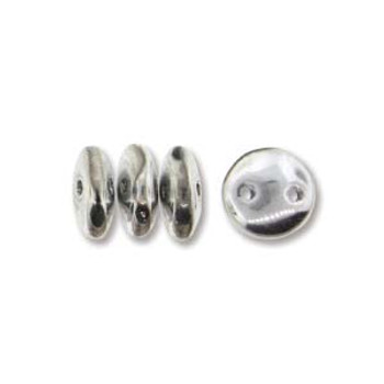48 Lentil 2 Hole 6mm Silver Czech Glass Beads