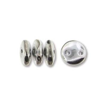 48 Lentil 2 Hole 6mm Silver Czech Glass Beads
