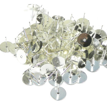 100 Silver-Plated Brass 10mm Flat Pad Surgical Steel Post Earring Finding Package Of 50 Pair 3325Fn