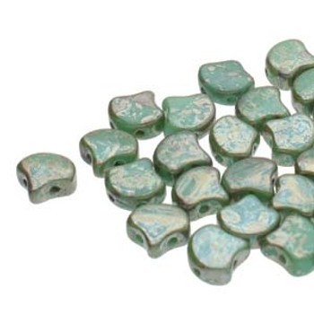 Ginko 2 Hole 7.5mm Opaque Turquoise Rembrandt 20 Grams Czech Glass Beads