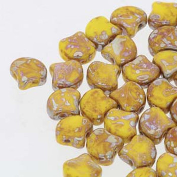 Ginko 2 Hole 7.5mm Opaque Yellow Rembrandt 20 Grams Czech Glass Beads