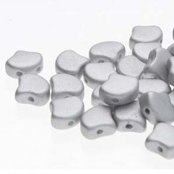 Ginko 2 Hole 7.5mm Matte Metallic Silver 20 Grams Czech Glass Beads