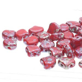 Ginko 2 Hole 7.5mm Opaque Red Rembrandt 20 Grams Czech Glass Beads