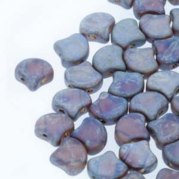 Ginko 2 Hole 7.5mm Matte Amethyst Rembr 20 Grams Czech Glass Beads