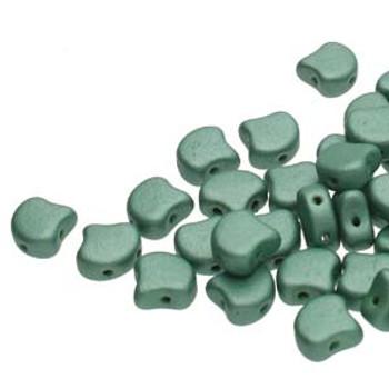 Ginko 2 Hole 7.5mm Metallic Suede Lt Green 20 Grams Czech Glass Beads