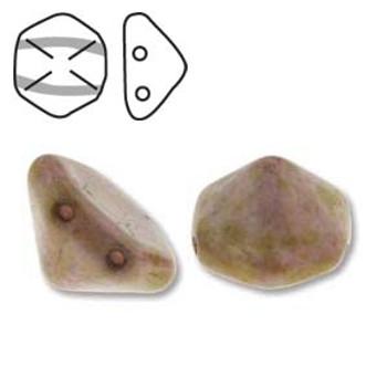 Pyramid Hex 2 Hole 12mm White Mat Trav Red 12 Czech Glass Beads