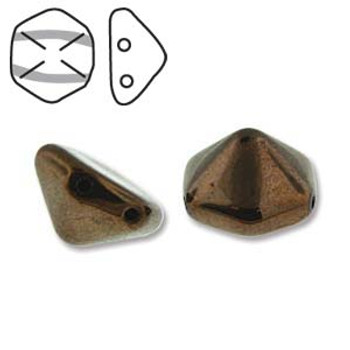 Pyramid Hex 2 Hole 12mm Jet Bronze 12 Czech Glass Beads