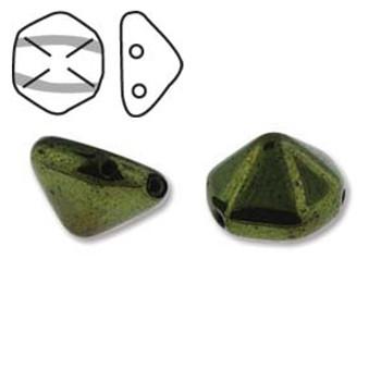 Pyramid Hex 2 Hole 12mm Jet Red Lstr 12 Czech Glass Beads