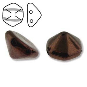 Pyramid Hex 2 Hole 12mm Jet Prpl Lstr 12 Czech Glass Beads