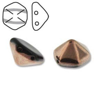 Pyramid Hex 2 Hole 12mm Jet Gld Cpri 12 Czech Glass Beads