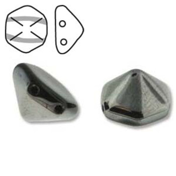 Pyramid Hex 2 Hole 12mm Jet Chrom 12 Czech Glass Beads