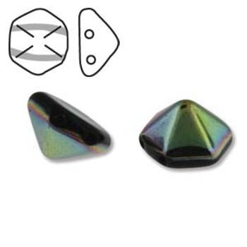 Pyramid Hex 2 Hole 12mm Jet Vitrail 12 Czech Glass Beads