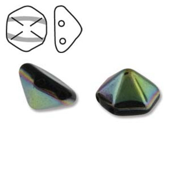 Pyramid Hex 2 Hole 12mm Jet Vitrail 12 Czech Glass Beads
