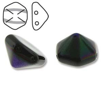 Pyramid Hex 2 Hole 12mm Jet Azuro 12 Czech Glass Beads